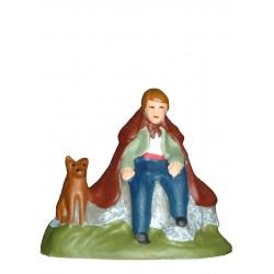 Berger assis et son chien